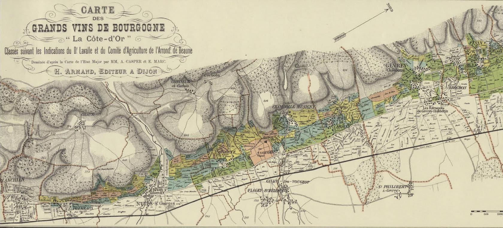 Carte des Grands vins de Bourgogne